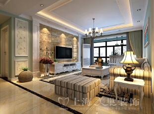 郑州升龙又一城134平三室两厅美式乡村风格装修效果图-客厅效果图,134平,5万,美式,三居,客厅,原木色,