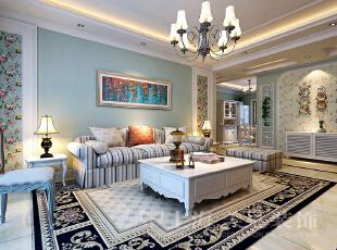 升龙又一城134平三室两厅美式乡村风格装修沙发墙效果图,134平,5万,美式,三居,客厅,白绿,