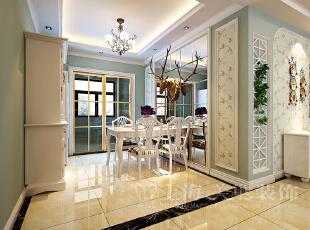 升龙又一城134平三室两厅美式乡村风格装修餐厅效果图,134平,5万,美式,三居,餐厅,白绿,