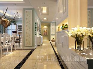 升龙又一城134平三室两厅美式乡村风格装修效果图-过道,134平,5万,美式,三居,餐厅,白绿,