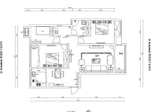 升龙又一城134平三室两厅美式乡村风格装修效果图-平面设计方案,134平,5万,美式,三居,