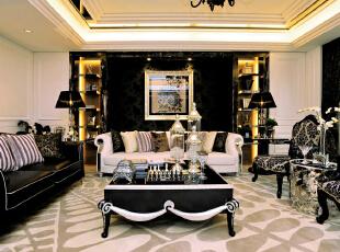 ,379平,40万,欧式,别墅,客厅,黑白,