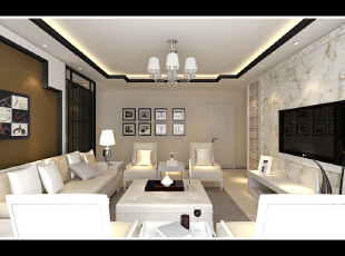 ,100平,9万,现代,两居,客厅,黑白,