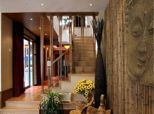 绿地蔷薇九里复式户型装修泰式风格设计方案展示,上海聚通装潢最新完工案例,欢迎品鉴!,158平,42万,现代,复式,餐厅,原木色,