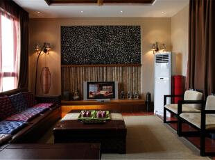 绿地蔷薇九里复式户型装修泰式风格设计方案展示,上海聚通装潢最新完工案例,欢迎品鉴!,158平,42万,现代,复式,客厅,棕色,