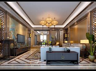 ,350平,100万,混搭,别墅,客厅,中式,原木色,