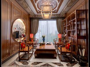 ,350平,100万,混搭,别墅,中式,客厅,原木色,