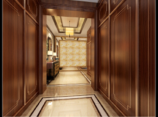 ,350平,100万,混搭,别墅,玄关,美式,原木色,