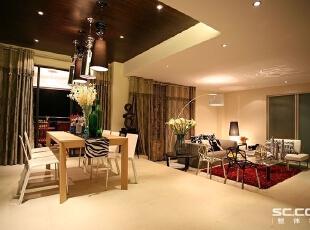 餐客厅设计: 此处灯是主角,餐桌椅是临时摆放。,148平,13万,小资,两居,