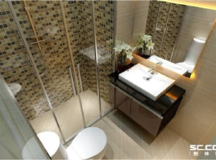 卫生间设计: 整体色调时尚现代大气 马赛克镶贴丰富了空间。,90平,8万,现代,两居,