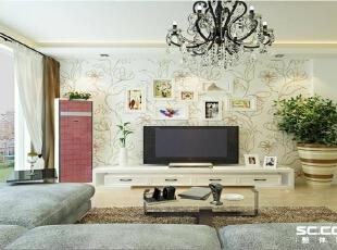 背景墙设计: 壁纸和水晶灯的组合使整个空间灵动起来 地面采用地板增加空间的柔和度。,90平,8万,现代,两居,