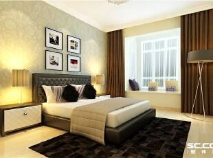 卧室设计: 卧室用黑白相间 壁纸和窗帘互相映衬 显示出卧室现代舒适的感觉。,90平,8万,现代,两居,