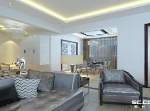 客厅设计: 大气和谐,将现代元素和传统元素结合,深与浅的对比,空间大的感觉效应.,150平,14万,现代,四居,