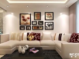 客厅设计: 沙发与白色的背景墙相呼应,背景墙上的装饰更是起到了画龙点睛的作用,一切都看似非常的和谐。,114平,10万,现代,三居,客厅,白色,
