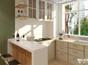 厨房设计: 整个厨房的装修在颜色上以白色为主,没有华丽的装饰点缀,整体的橱柜设计,流畅的线条,石英石台面整体显得非常的简单素雅。,114平,10万,现代,三居,厨房,白绿,