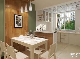 餐厅设计: 现代风格的色彩设计受现代绘画流派思潮影响很大。通过强调原色之间的对比协调来追求一种具有普遍意义的永恒的艺术主题。,114平,10万,现代,三居,餐厅,白绿,原木色,