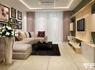 客厅设计: 空间开敞、内外通透,在空间平面设计中追求不受传统对称限制。自由开放,力求创造出时代精神,独具新意的装饰,设计简单、通俗、清新,更接近人们生活。,114平,10万,现代,三居,客厅,白绿,