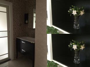次卫干湿分离,墙面使用了马赛克。,130平,45万,欧式,三居,卫生间,黄色,黑白,白色,