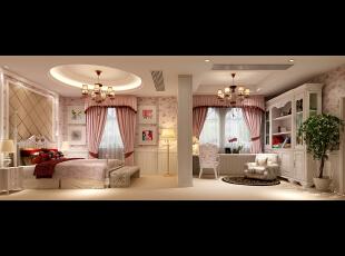 女孩放,360平,120万,欧式,四居,儿童房,白色,粉色,