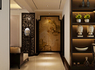 翰宇天悦4室2厅门厅新中式风格装修方案---走道,128平,6万,中式,四居,客厅,原木色,
