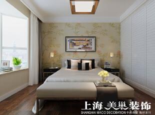 翰宇天悦4室2厅新中式风格样板间装修效果图---主卧,128平,6万,中式,四居,卧室,白色,