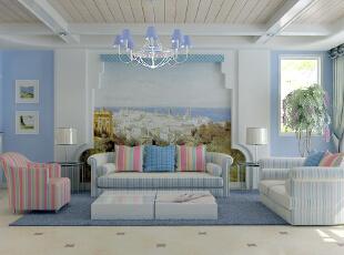 ,121平,11万,地中海,客厅,白紫,