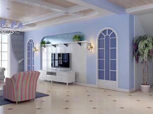 ,121平,11万,地中海,两居,餐厅,蓝色,