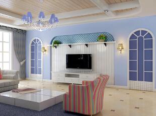 ,121平,11万,地中海,两居,客厅,白紫,
