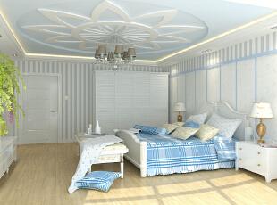 ,121平,11万,地中海,卧室,蓝色,