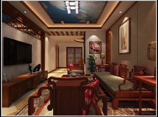 ,105平,06万,中式,三居,客厅,