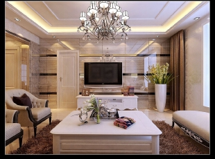 平阳景苑130平--三居室--现代简约装修设计效果图,130平,现代,三居,客厅,黄色,