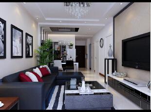 劲松小区120平--三居室--后现代装修设计效果图—东唐装饰设计有限公司—装修模式:半包 6.35万元。,三居,客厅,简约,新古典,小资,黑白,