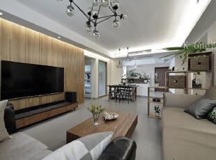 客厅,118平,35万,现代,三居,客厅,原木色,简约,