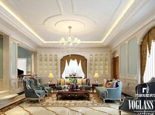 相比于欧式古典风格的复杂线条,低沉色彩,简欧风格就简单许多,色彩也更为清新明亮,在保留欧式古典优雅豪华的基础上,更强调现代生活的舒适与休闲。简欧风格更能体现出现代人对生活品质的追求,视生活为艺术的人生态度。,580平,320万,欧式,别墅,客厅,白蓝,