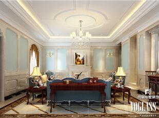 墙面大量使用白色调,没有任何花哨的装饰,家具以暗红色实木家具为主,把欧式风格设计融入现代家居装饰中,营造出时尚、高贵、轻松、愉悦的视觉感空间。两个大面积的落地窗大大增加了空间的采光,轻柔的纱幔将凡世的喧嚣抵挡在外,给人以宁静动人的生活享受。,580平,320万,欧式,别墅,客厅,白蓝,