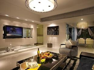 ,110平,7万,现代,三居,客厅,白色,