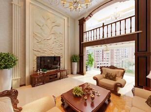 ,220平,25万,美式,大户型,客厅,原木色,
