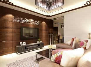 """全国首创""""一口价""""装修模式 集设计、施工、材料、家具、售后为一体,家庭装修系统化,规模化,材料小到开关插座,大到洁具,家具,橱柜等纳入整个家装生产流程,形成""""工厂化""""为主导的家装模式。,107平,82800万,中式,三居,客厅,棕白,"""