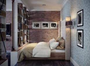,55平,7万,美式,一居,卧室,白蓝,