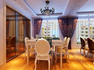 ,132平,18万,欧式,三居,客厅,餐厅,简约,白色,