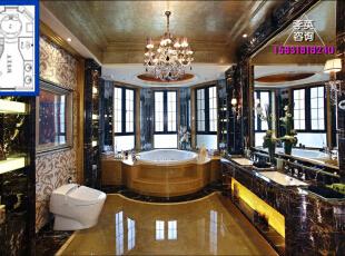 卫生间效果图加布局方案,这么大的浴池和镜子也是我最爱。,600平,50万,欧式,大户型,卫生间,邯郸龙发,
