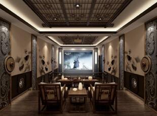 ,500平,200万,中式,别墅,餐厅,原木色,
