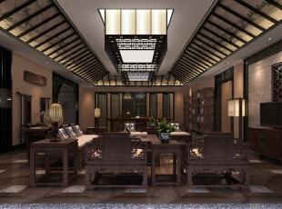 ,500平,200万,中式,别墅,客厅,原木色,