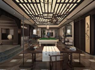 ,500平,200万,中式,别墅,客厅,灰白,