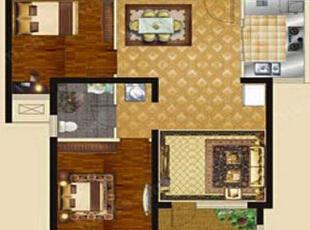 国龙绿城怡园89平方两室两厅现代简约装修效果图 户型图,89平,5万,现代,两居,