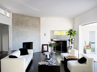 北京别墅装修设计——客厅 主要以黑白色调为主 现代布艺的浅白色的沙发 搭上黑色的抱枕 时尚的设计,303平,52万,简约,四居,客厅,黑白,红色,绿色,