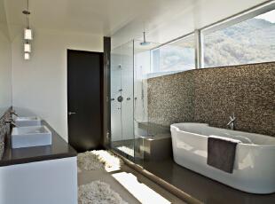 北京别墅装修设计——卫生间 简单 干净的布置 整洁,303平,52万,简约,四居,卫生间,黑白,黄色,