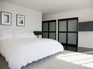 北京别墅装修设计——卧室 客户喜欢干净 整洁 不喜欢太多的颜色 所以我们用的黑白色的搭配 时尚 简约,303平,52万,简约,四居,卧室,黑白,