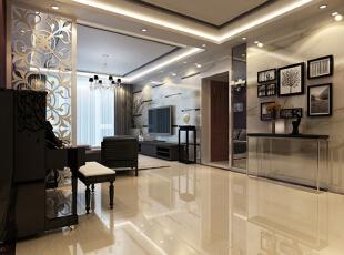 客厅用天花吊顶和雕花隔断对空间区域进行了划分,雕花隔断选用白色,在这个以暖色为主调的客厅里显得清新浪漫。暗紫色的条纹壁纸铺满了整面墙,急需一些提亮的东西来装饰,于是有了镜面和LED灯一起打造的嵌入式壁橱,配合顶照的弧形灯光,璀璨别致。,116平,10万,简约,三居,客厅,白色,