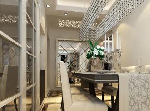 菱形镜子搭配相框,从而放大整个空间,于是有了和LED灯一起打造的嵌入式鞋柜,配合顶照的弧形灯光,璀璨别致。,116平,10万,简约,三居,餐厅,白色,